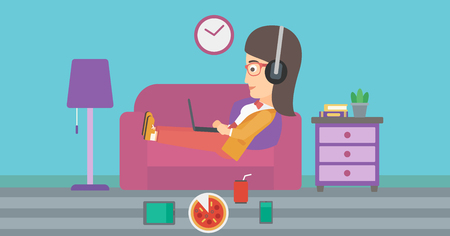 A woman in headphones lying on a sofa in living room with electronic devices and fast food vector flat design illustration. Horizontal layout. Illustration