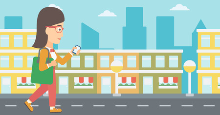 smart phone woman: A woman walking with a smartphone on a city background vector flat design illustration. Horizontal layout.