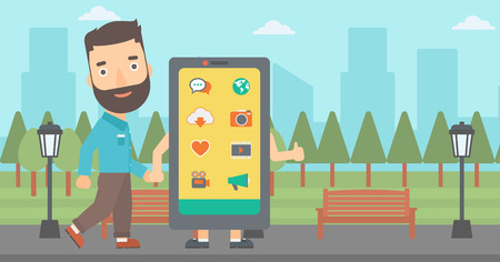 media gadget: A hipster man with the beard walking with a big smartphone in the park vector flat design illustration. Horizontal layout.