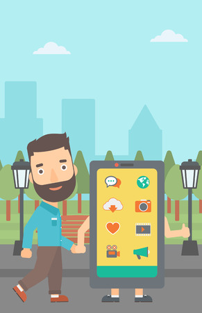 media gadget: A hipster man with the beard walking with a big smartphone in the park vector flat design illustration. Vertical layout.