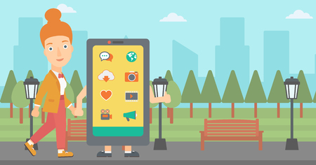 media gadget: A woman walking with a big smartphone in the park vector flat design illustration. Horizontal layout. Illustration