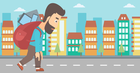 A hipster man with the beard walking with a big backpack full of different devices on a city background vector flat design illustration. Horizontal layout.