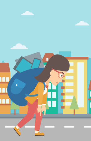 cary: A sad woman walking with a big backpack full of different devices on a city background vector flat design illustration. Vertical layout.