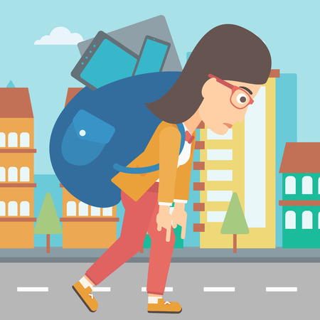 cary: A sad woman walking with a big backpack full of different devices on a city background vector flat design illustration. Square layout.