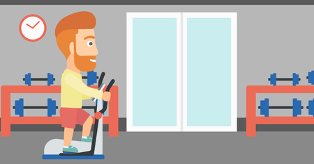 A hipster man with the beard exercising on a elliptical machine in the gym vector flat design illustration. Horizontal layout.