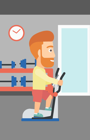 crosstrainer: A hipster man with the beard exercising on a elliptical machine in the gym vector flat design illustration. Vertical layout.