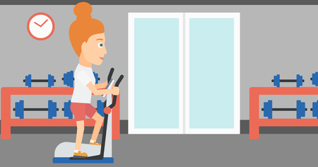 woman exercising: A woman exercising on a elliptical machine in the gym vector flat design illustration. Horizontal layout.