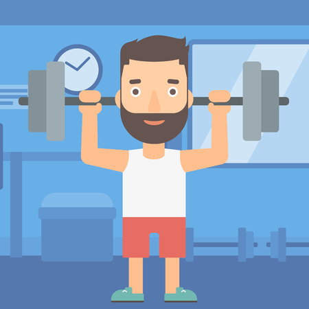 crossbar: A hipster man with the beard lifting a barbell in the gym vector flat design illustration. Square layout.