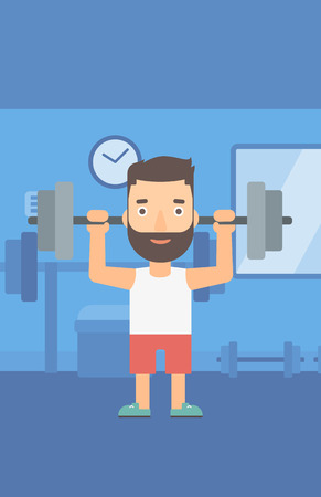 crossbar: A hipster man with the beard lifting a barbell in the gym vector flat design illustration. Vertical layout.