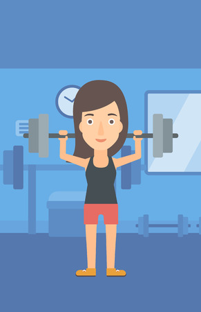 crossbar: A woman lifting a barbell in the gym vector flat design illustration. Vertical layout.