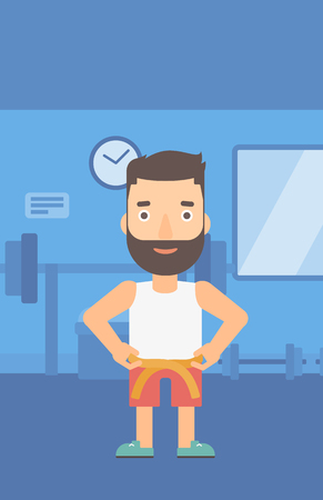 A hipster man with the beard measuring his waistline with a tape in the gym vector flat design illustration. Vertical layout. 일러스트