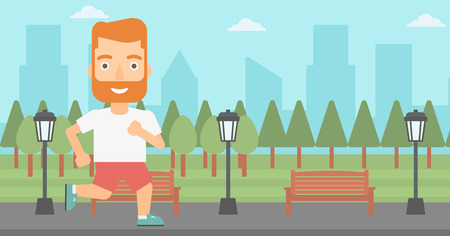 jogging in park: A hipster man with the beard jogging in the park vector flat design illustration. Horizontal layout.
