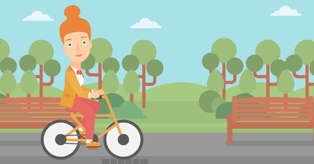 A woman riding a bicycle in the park  vector flat design illustration. Horizontal layout.