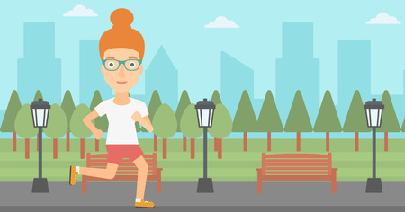 jogging in park: A woman jogging in the park vector flat design illustration. Horizontal layout.