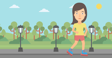 rollerskates: A woman on the roller-skates in the park vector flat design illustration. Horizontal layout.