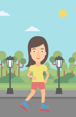 A woman on the roller-skates in the park vector flat design illustration. Vertical layout.