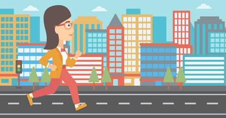 A woman jogging on a city background vector flat design illustration. Horizontal layout.