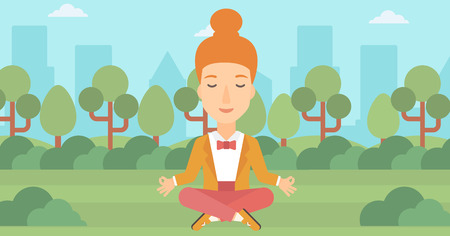 concentrate: A business woman meditating in lotus pose in the park vector flat design illustration. Horizontal layout. Illustration