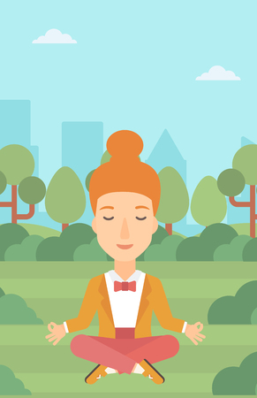 concentrate: A business woman meditating in lotus pose in the park vector flat design illustration. Vertical layout.