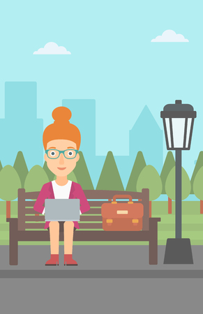 A woman sitting in the park on a bench and working on a laptop vector flat design illustration. Vertical layout. Illustration