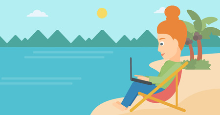 chaise lounge: A business woman sitting on the beach in chaise lounge and working on a laptop vector flat design illustration. Horizontal layout. Illustration