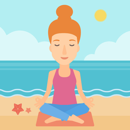 A woman meditating in lotus pose on the beach vector flat design illustration. Square layout.