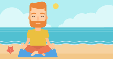 A hipster man with the beard meditating in lotus pose on the beach vector flat design illustration. Horizontal layout.