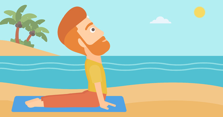 A hipster man with the beard practicing yoga upward dog pose on the beach vector flat design illustration. Horizontal layout. Illustration