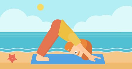 facing: A hipster man with the beard standing in yoga downward facing dog pose on the beach vector flat design illustration. Horizontal layout.