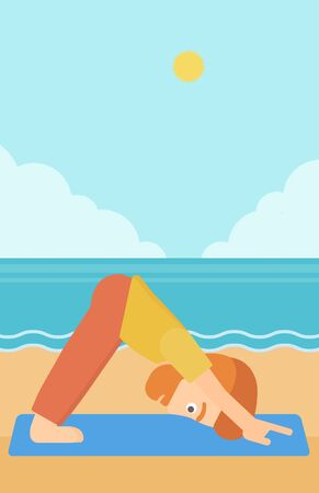 facing: A hipster man with the beard standing in yoga downward facing dog pose on the beach vector flat design illustration. Vertical layout. Illustration