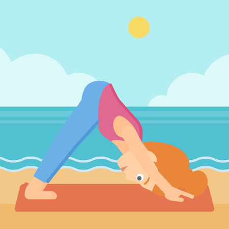 facing: A woman standing in yoga downward facing dog pose on the beach vector flat design illustration. Square layout. Illustration