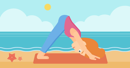downward: A woman standing in yoga downward facing dog pose on the beach vector flat design illustration. Horizontal layout.