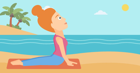 A woman practicing yoga upward dog pose on the beach vector flat design illustration. Horizontal layout.