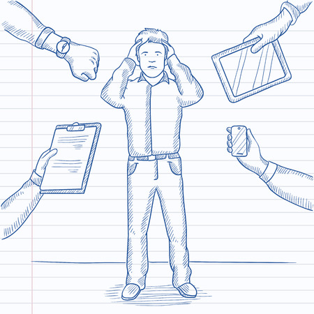 despair: A man in despair surrounded by hands with gadgets, notepad, wrist watch. Hand drawn vector sketch illustration. Notebook paper in line background.