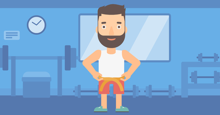 A hipster man with the beard measuring his waistline with a tape in the gym vector flat design illustration. Horizontal layout.