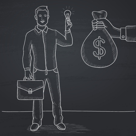 exchanging: A man exchanging his idea bulb to money bag. Hand drawn vector sketch illustration. Hand drawn in chalk on a blackboard vector sketch illustration.