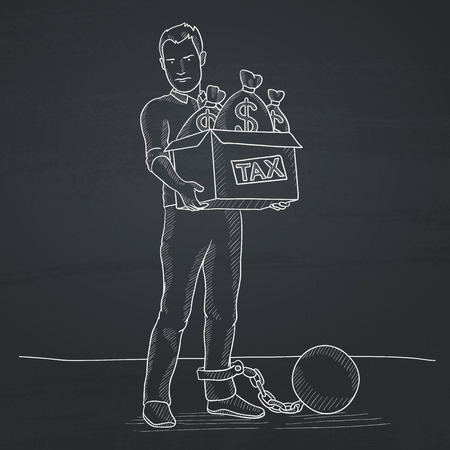Chained to a large ball man carrying heavy box with bags full of taxes. Hand drawn in chalk on a blackboard vector sketch illustration. Ilustração
