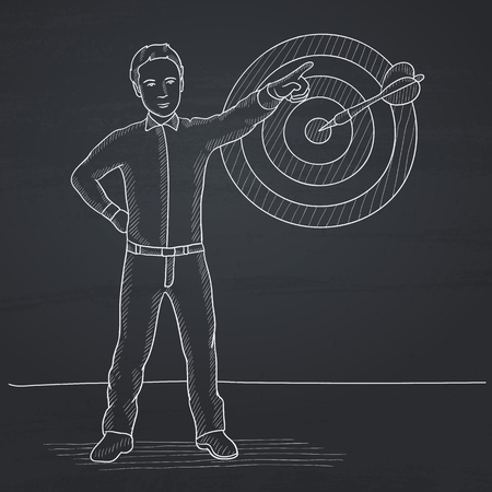 lenght: A man pointing at arrow in a target board. Hand drawn in chalk on a blackboard vector sketch illustration. Illustration