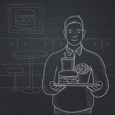 A man holding a tray full of junk food in the cafe. Hand drawn in chalk on a blackboard vector sketch illustration.