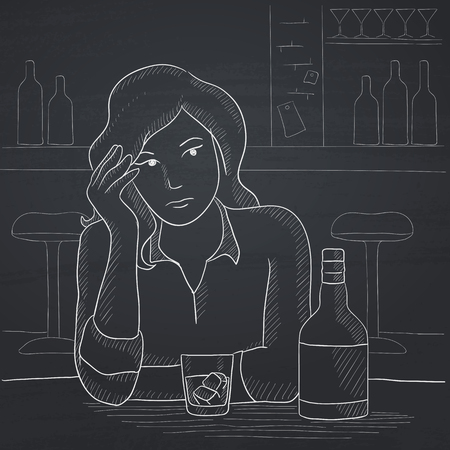 A sad woman sitting at the table with a bottle and a glass at the bar. Hand drawn in chalk on a blackboard vector sketch illustration.