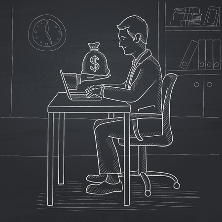 sketch out: A man sitting at the desk in office and a bag of money coming out of his laptop. Hand drawn in chalk on a blackboard vector sketch illustration.