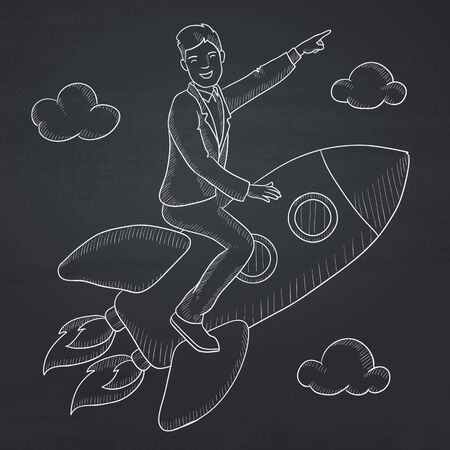 man pointing up: A man flying on the rocket and pointing his forefinger up. Hand drawn in chalk on a blackboard vector sketch illustration.