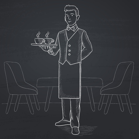 lenght: A waiter holding a tray with cups of tea or coffee at the bar. Hand drawn in chalk on a blackboard vector sketch illustration. Illustration