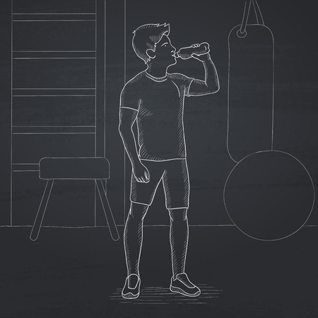sportive: A sportive man drinking water in the gym. Hand drawn in chalk on a blackboard vector sketch illustration.