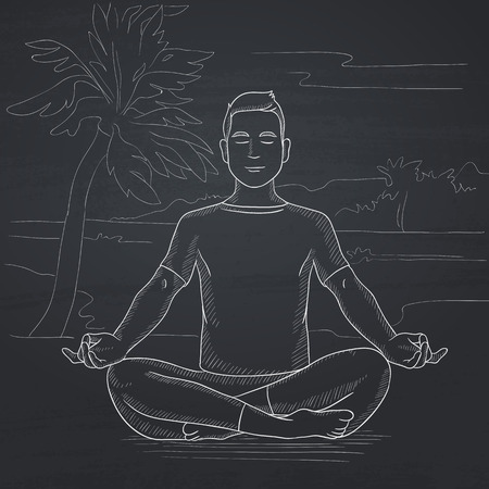 concentrate: A man meditating in lotus pose on the beach. Hand drawn in chalk on a blackboard vector sketch illustration.