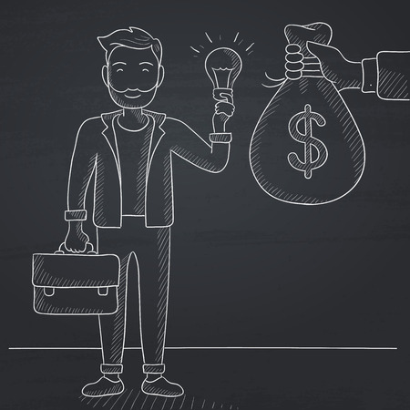 exchanging: A hipster man with the beard exchanging his idea bulb to money bag. Hand drawn in chalk on a blackboard vector sketch illustration.
