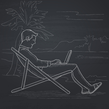 laptop outside: A businessman sitting on the beach in chaise lounge and working on a laptop. Hand drawn in chalk on a blackboard vector sketch illustration. Illustration