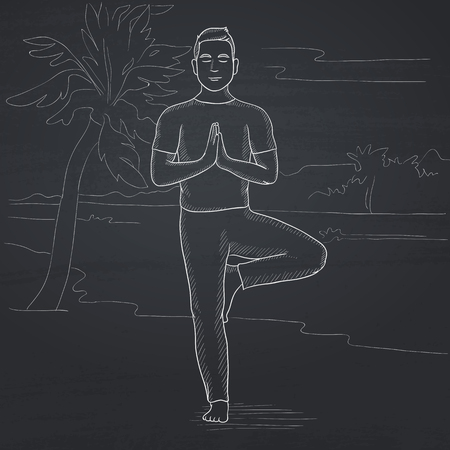 A man standing in yoga tree pose on the beach. Hand drawn in chalk on a blackboard vector sketch illustration. Иллюстрация