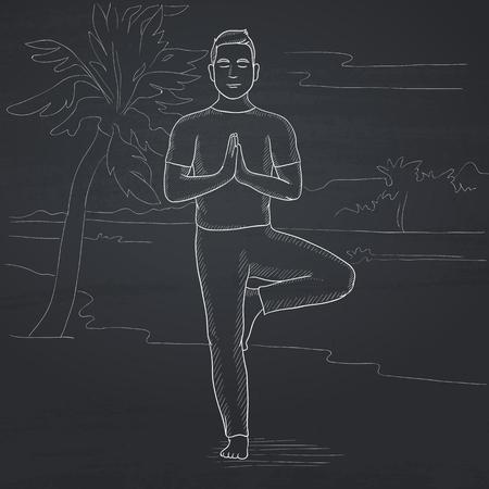 A man standing in yoga tree pose on the beach. Hand drawn in chalk on a blackboard vector sketch illustration. Ilustração