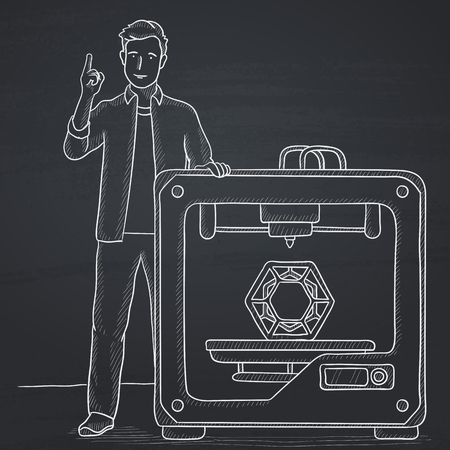 man pointing up: A man standing near 3D printer and pointing forefinger up. Hand drawn in chalk on a blackboard vector sketch illustration.